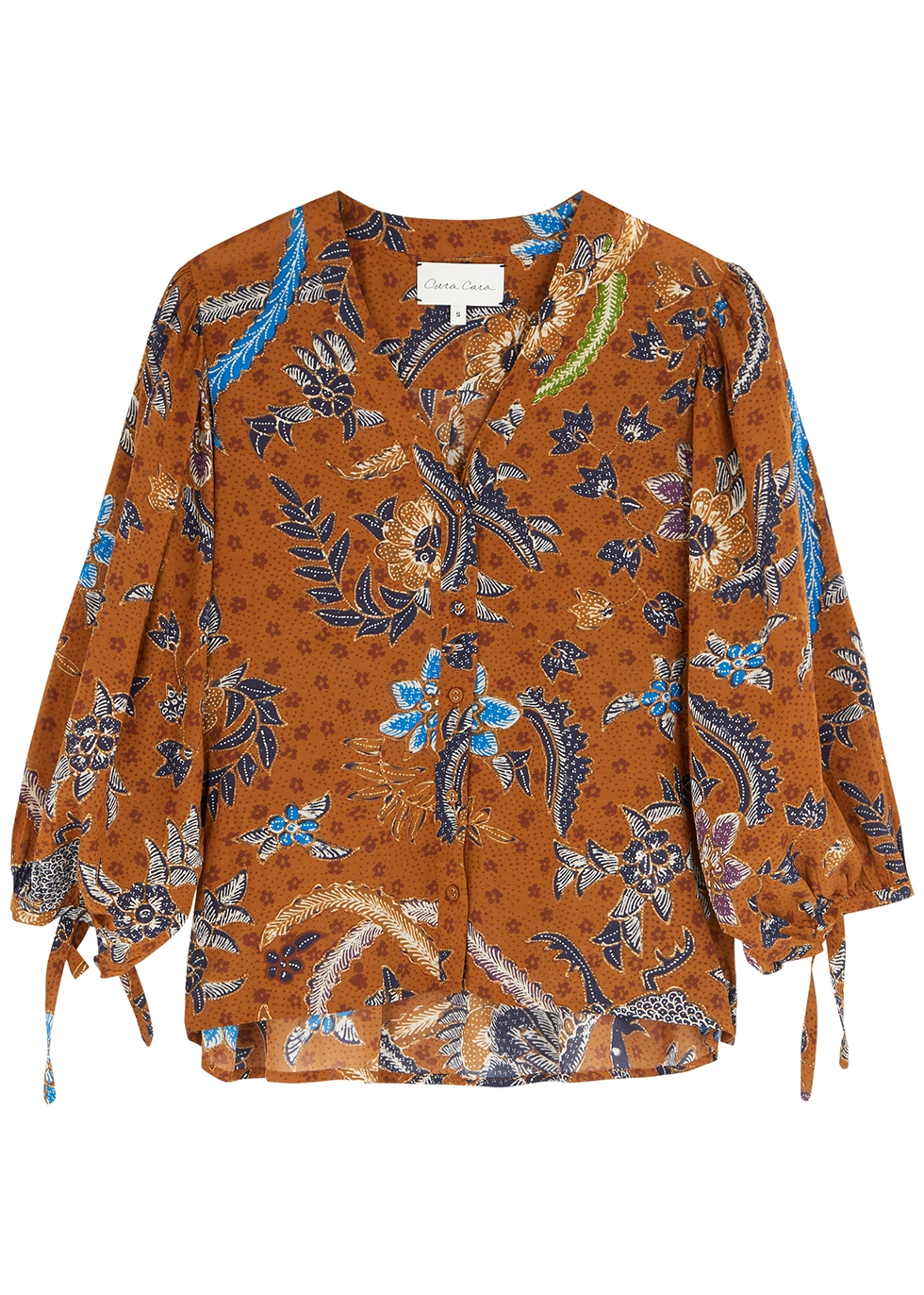 Win brown printed voile top