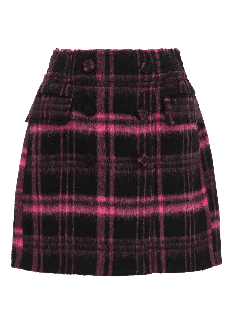 Plaid wool-blend mini skirt