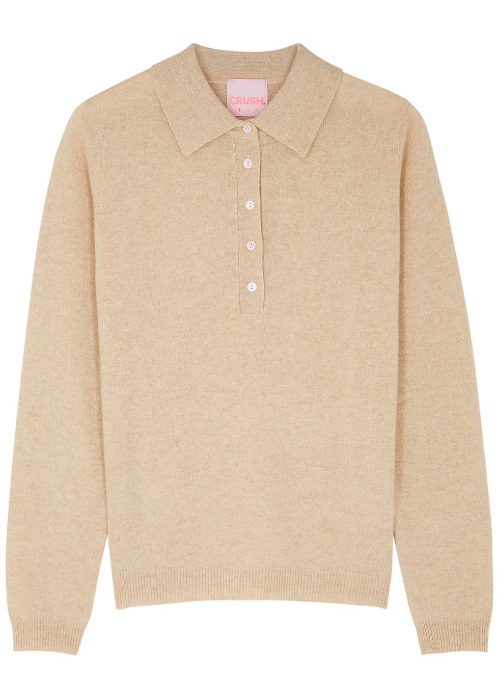 Troy sand cashmere polo jumper