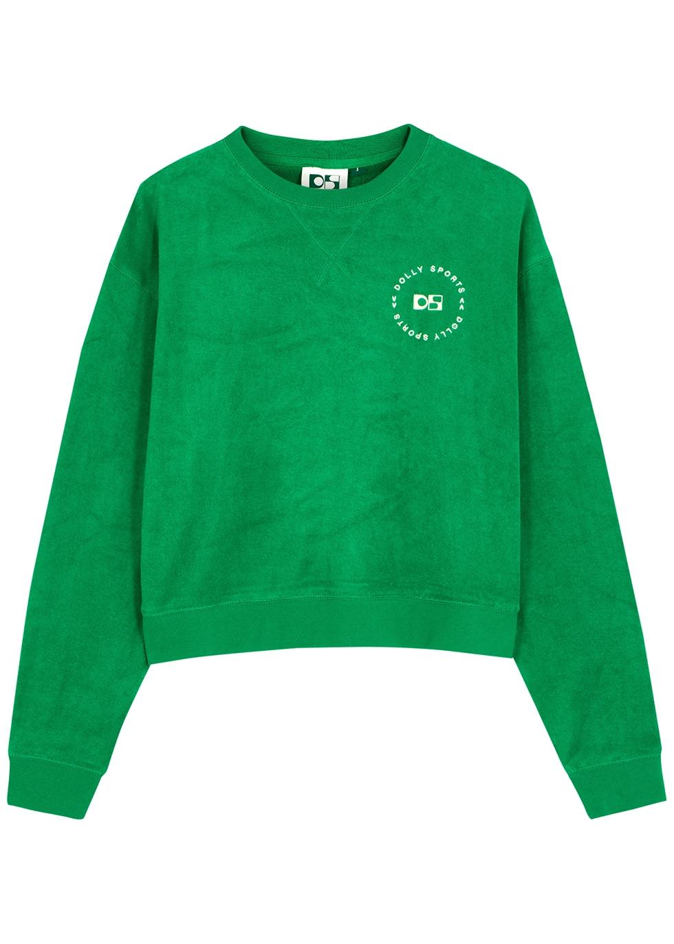 Classic green logo terry-cotton sweatshirt