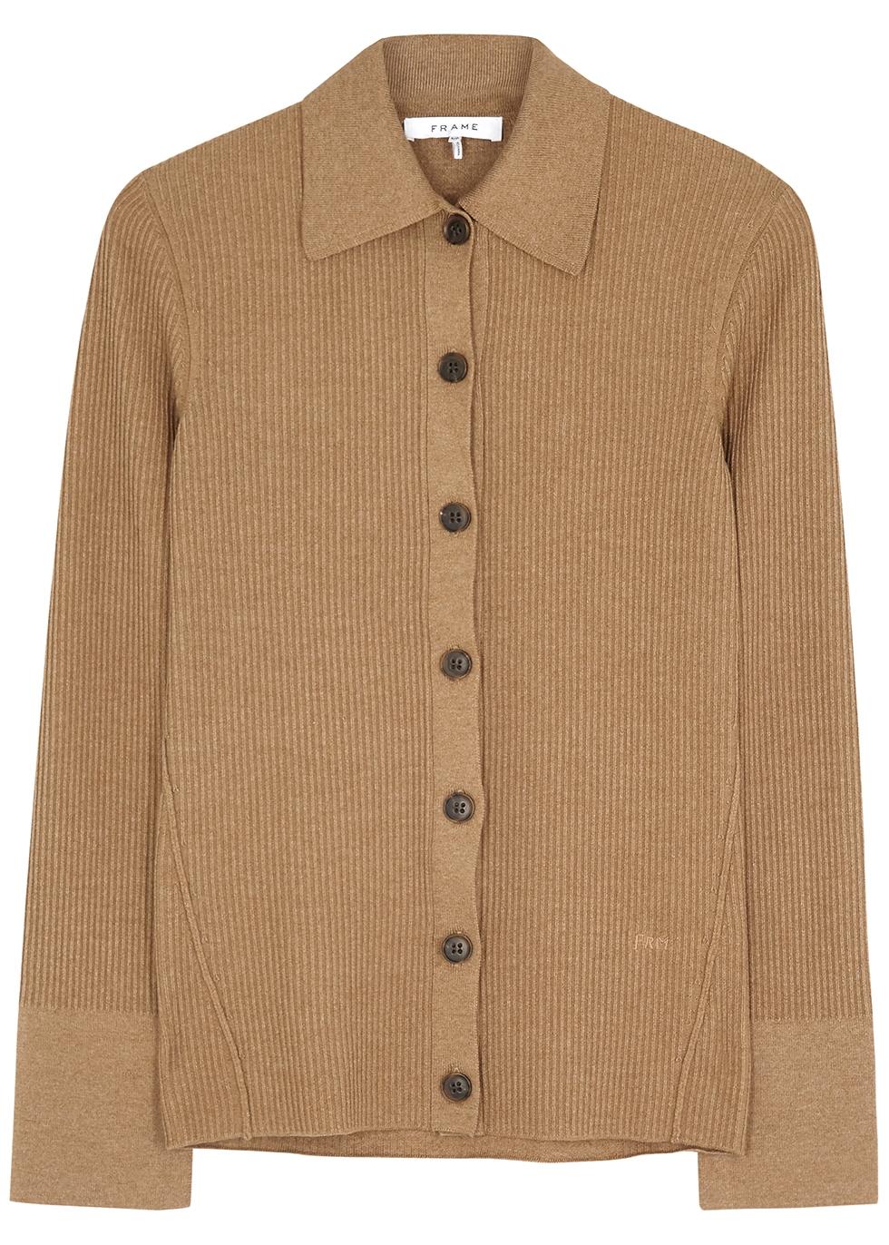 Camel cotton ribbed-knit cardigan