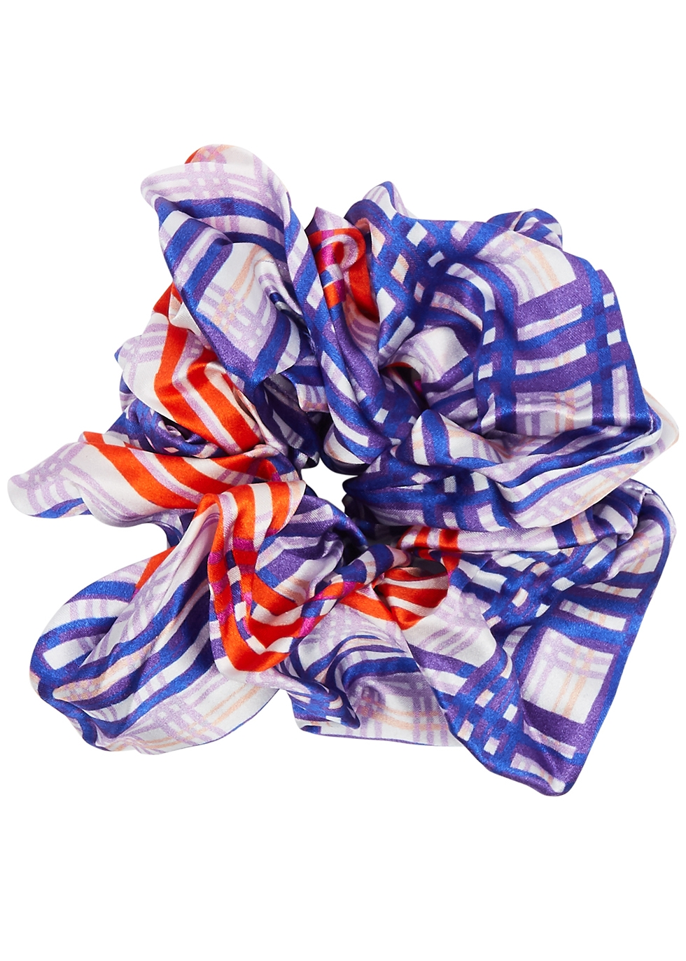 Periwinkle Plaid printed silk scrunchie