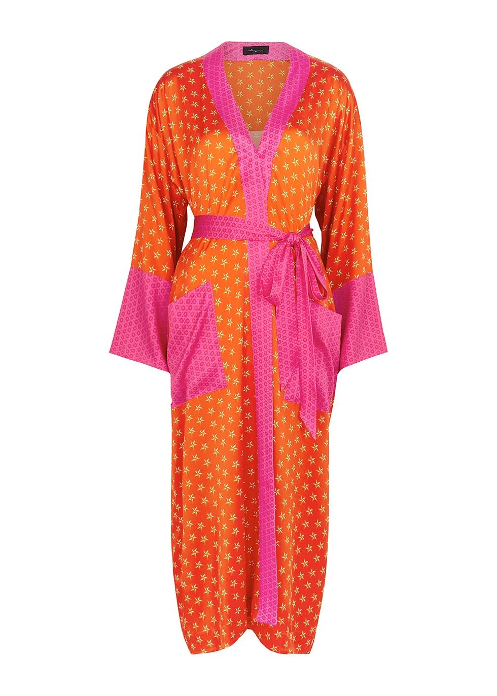 Lucy's Stars printed stretch-silk robe