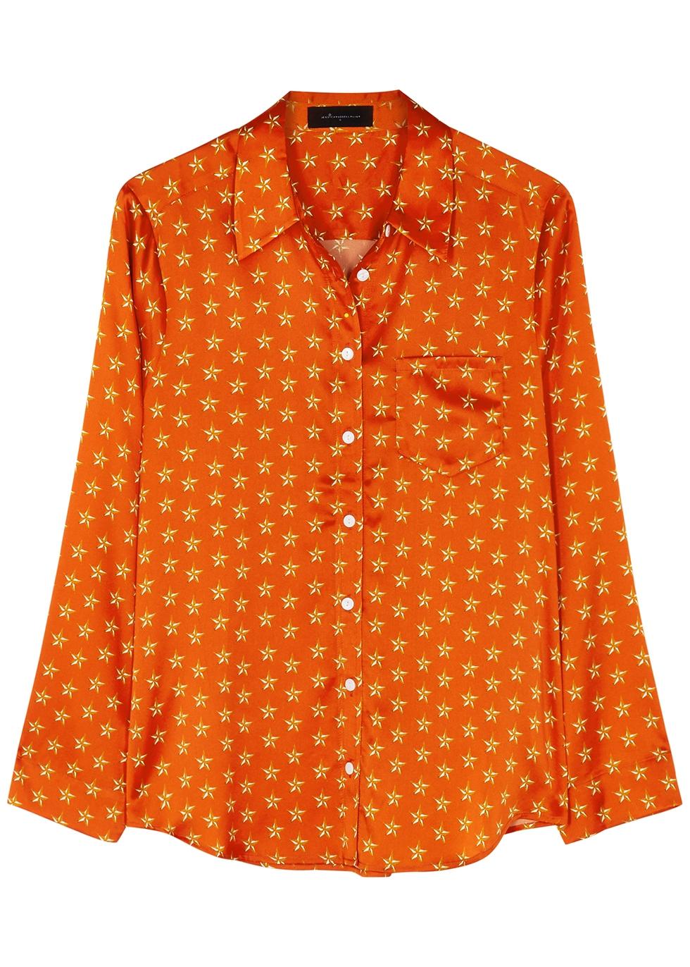 Lucy's Stars printed stretch-silk pyjama shirt
