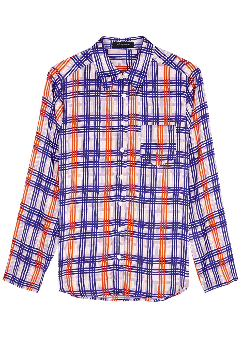 Periwinkle Plaid stretch-silk pyjama shirt