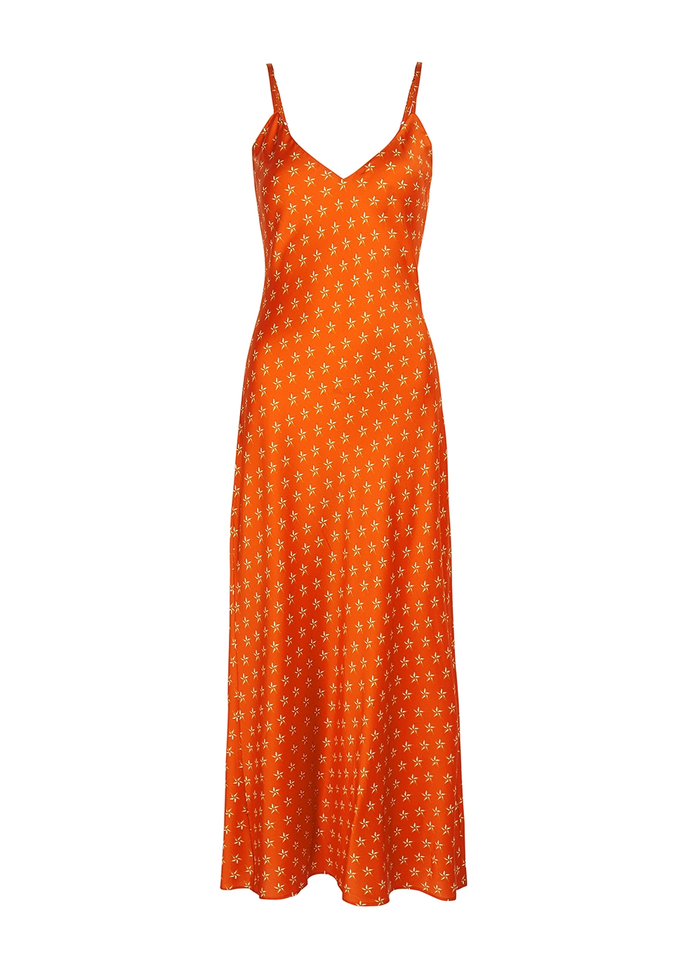 Lucy's Stars printed stretch-silk slip dress