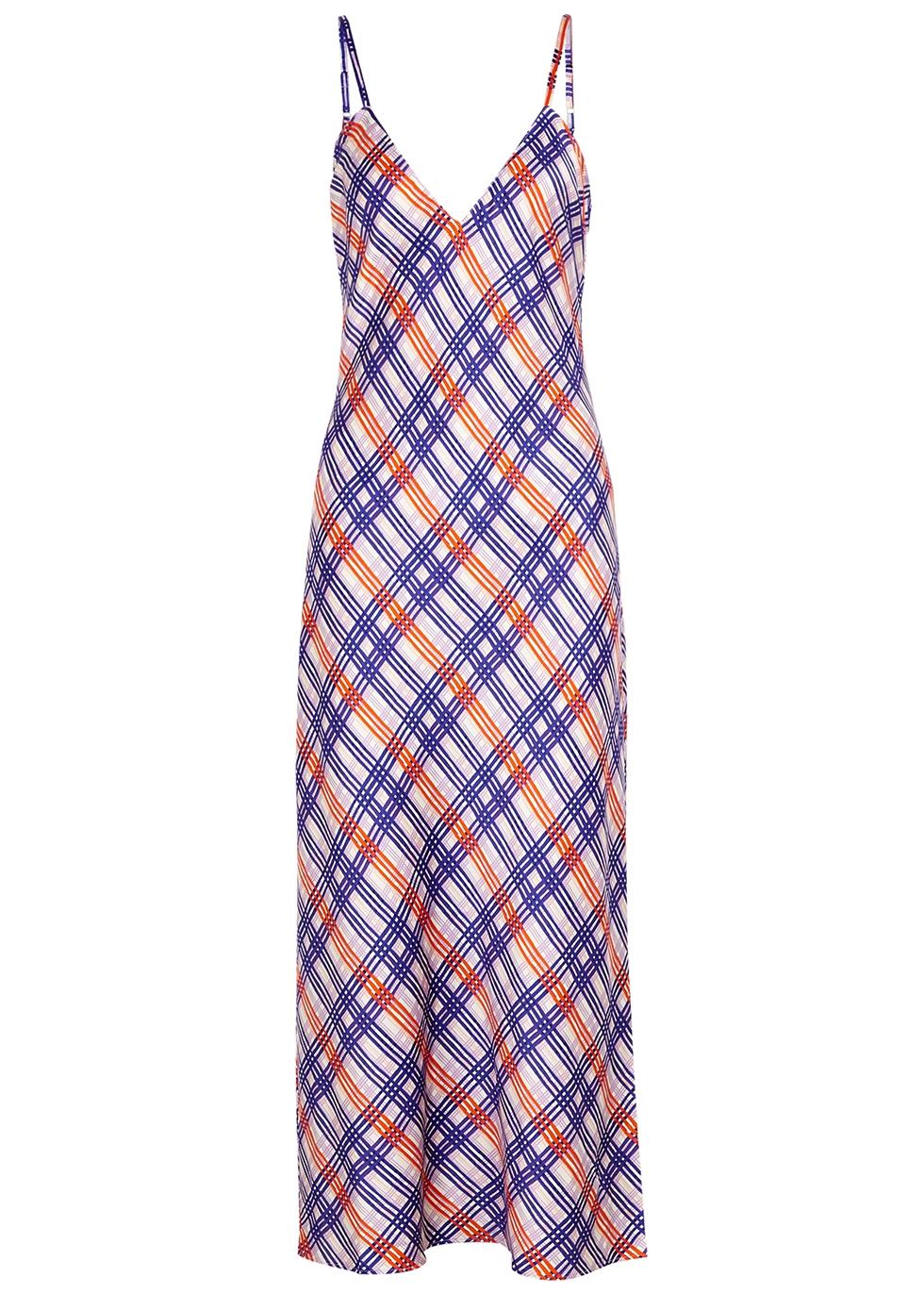 Periwinkle Plaid stretch-silk slip dress