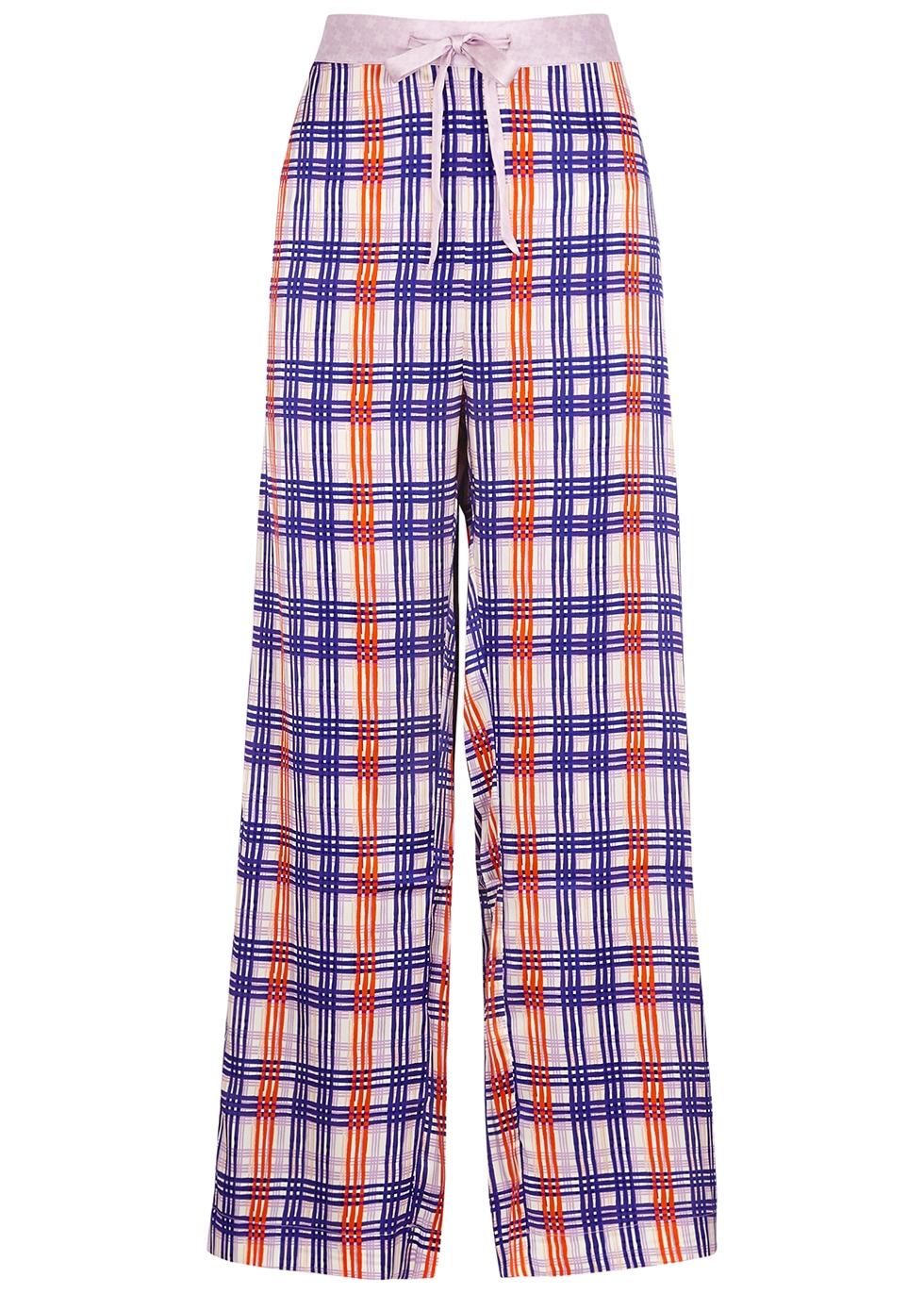 Periwinkle Plaid stretch-silk pyjama trousers