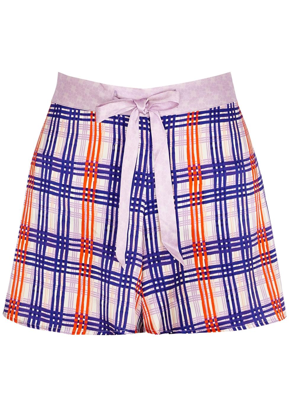 Periwinkle Plaid stretch-silk pyjama shorts