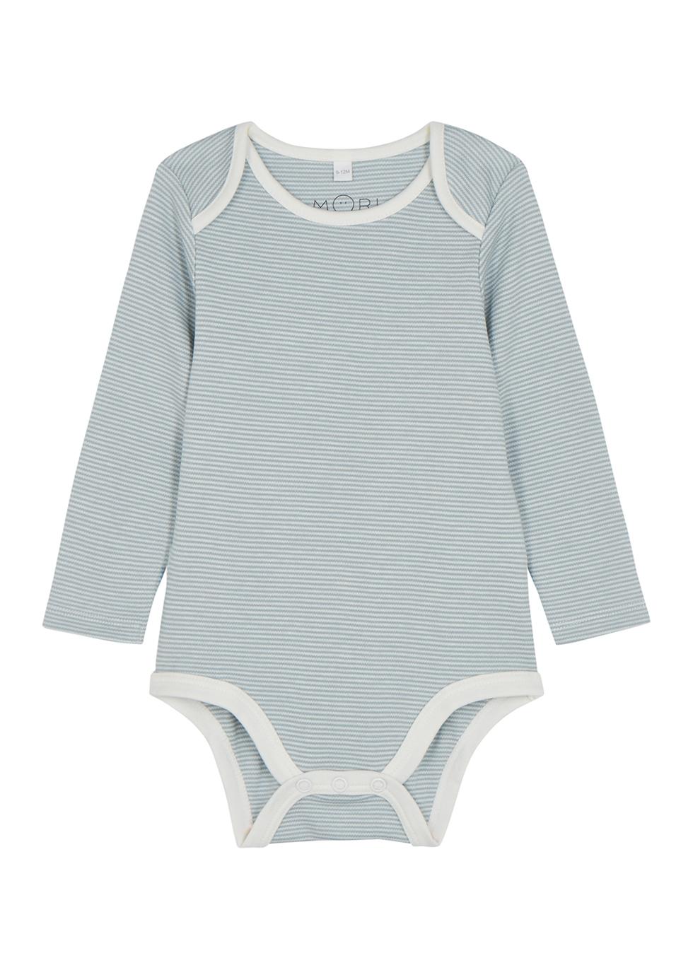 Blue striped jersey babygrow