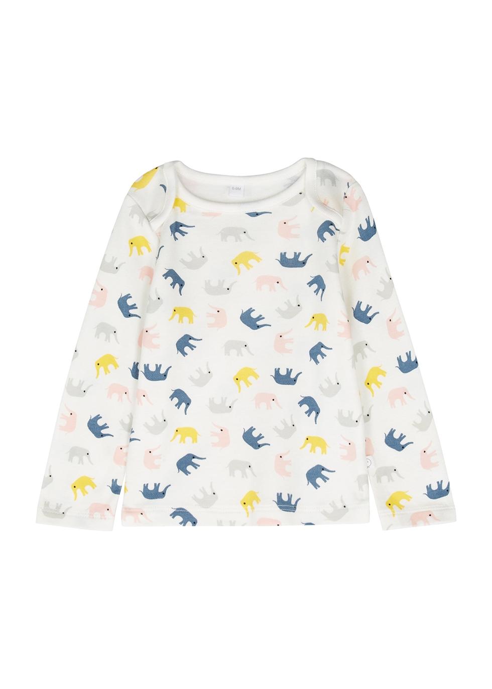 Elephant-print jersey top