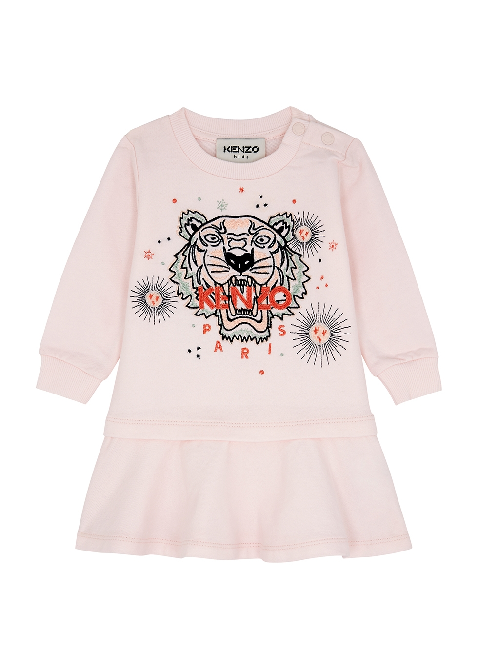 Pink logo-embroidered cotton dress