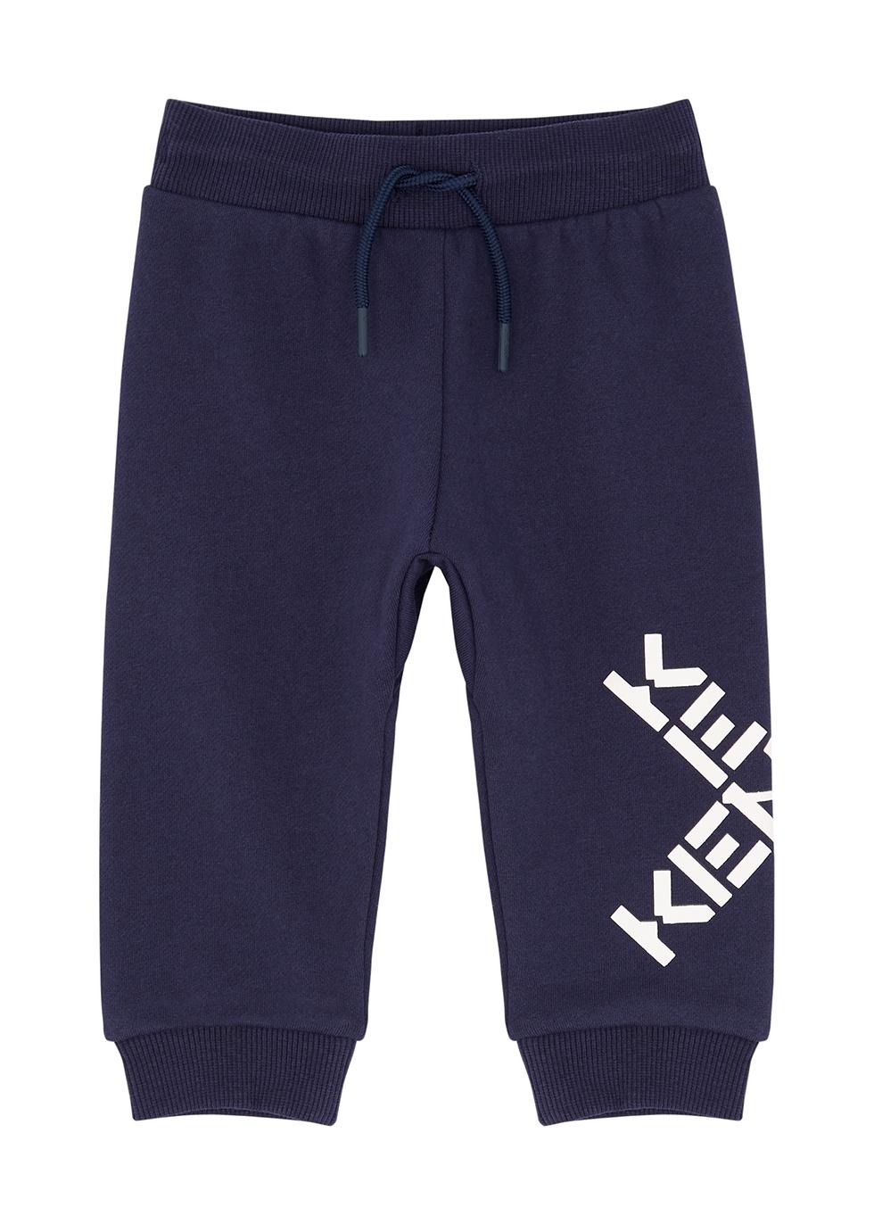 Navy logo cotton-blend sweatpants