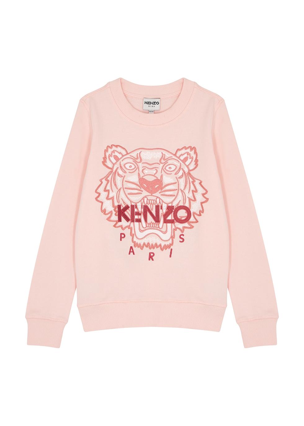 Pink logo-embroidered cotton sweatshirt (6-12 years)