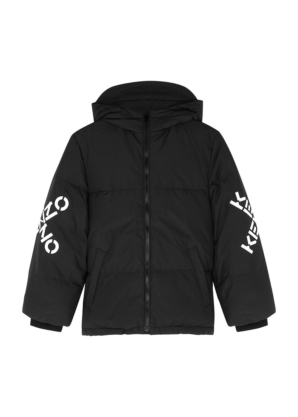 Black logo shell coat (6-12 years)