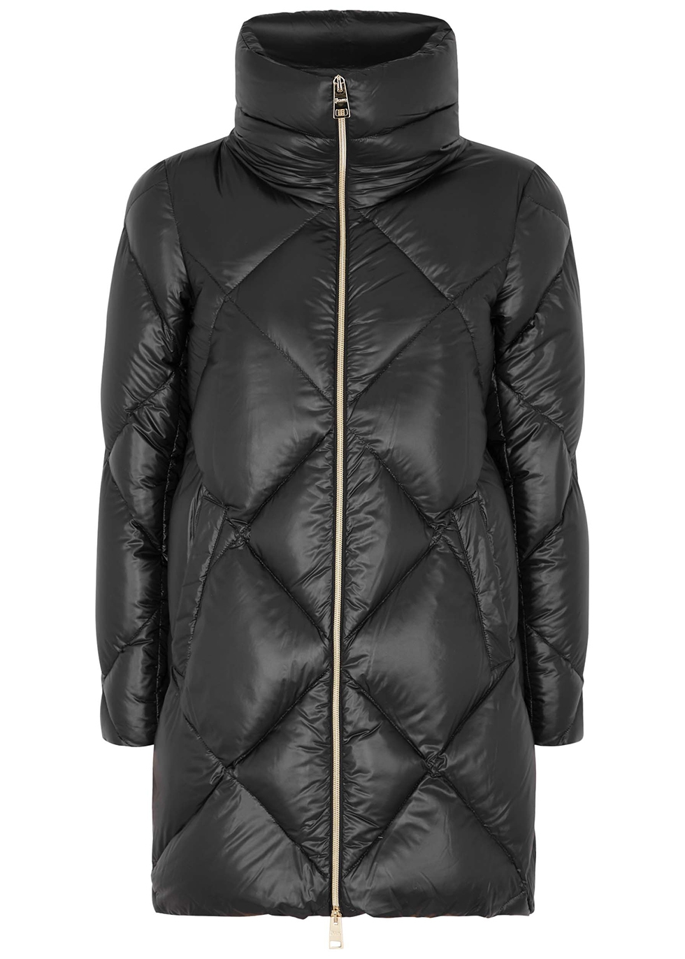 Ultralite black quilted shell coat