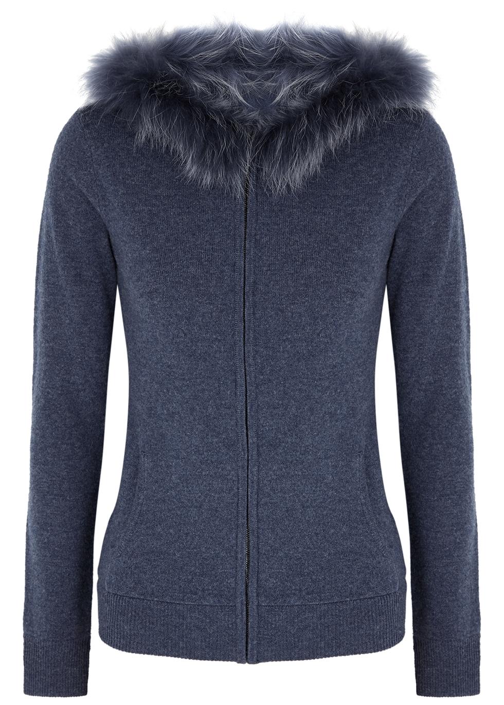 Navy fur-trimmed hooded wool-blend jumper