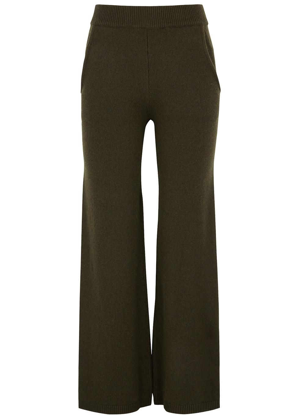 Green wool-blend wide-leg trousers