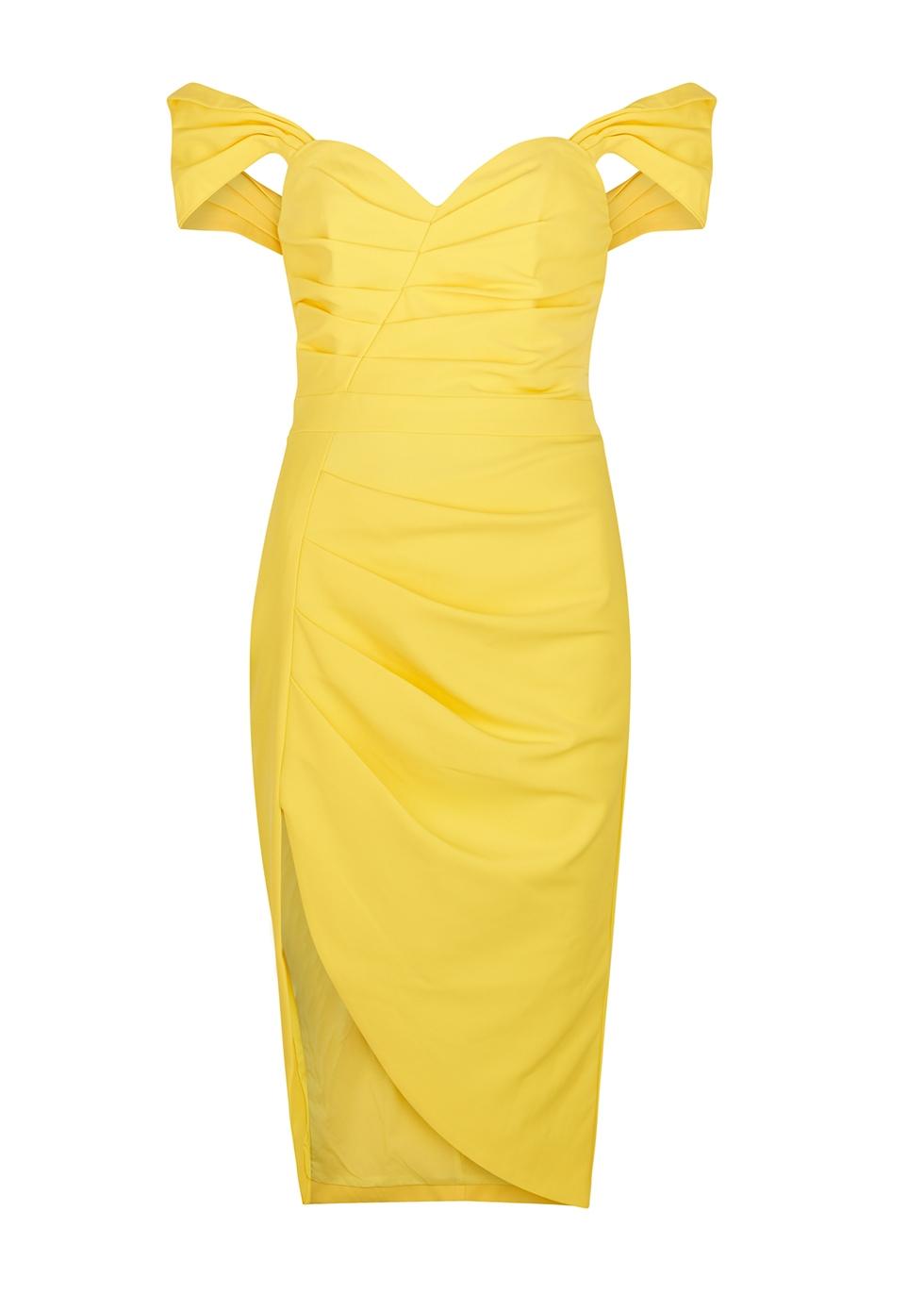 Bright yellow off-the-shoulder midi dress