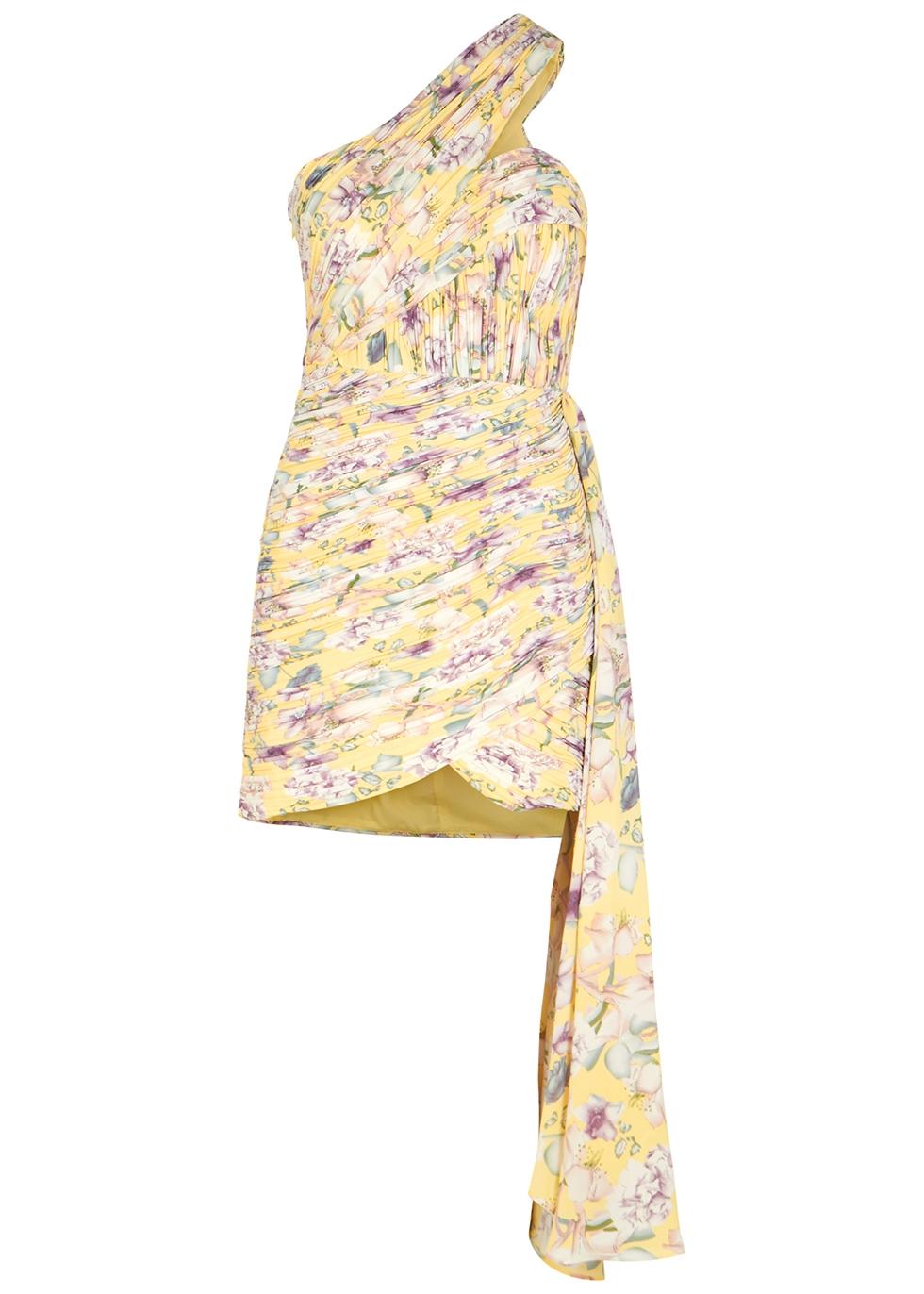 Floral-print plissé mini dress