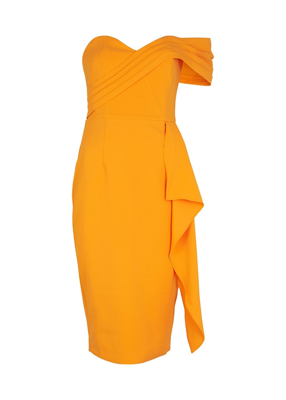 Orange one-shoulder midi dress