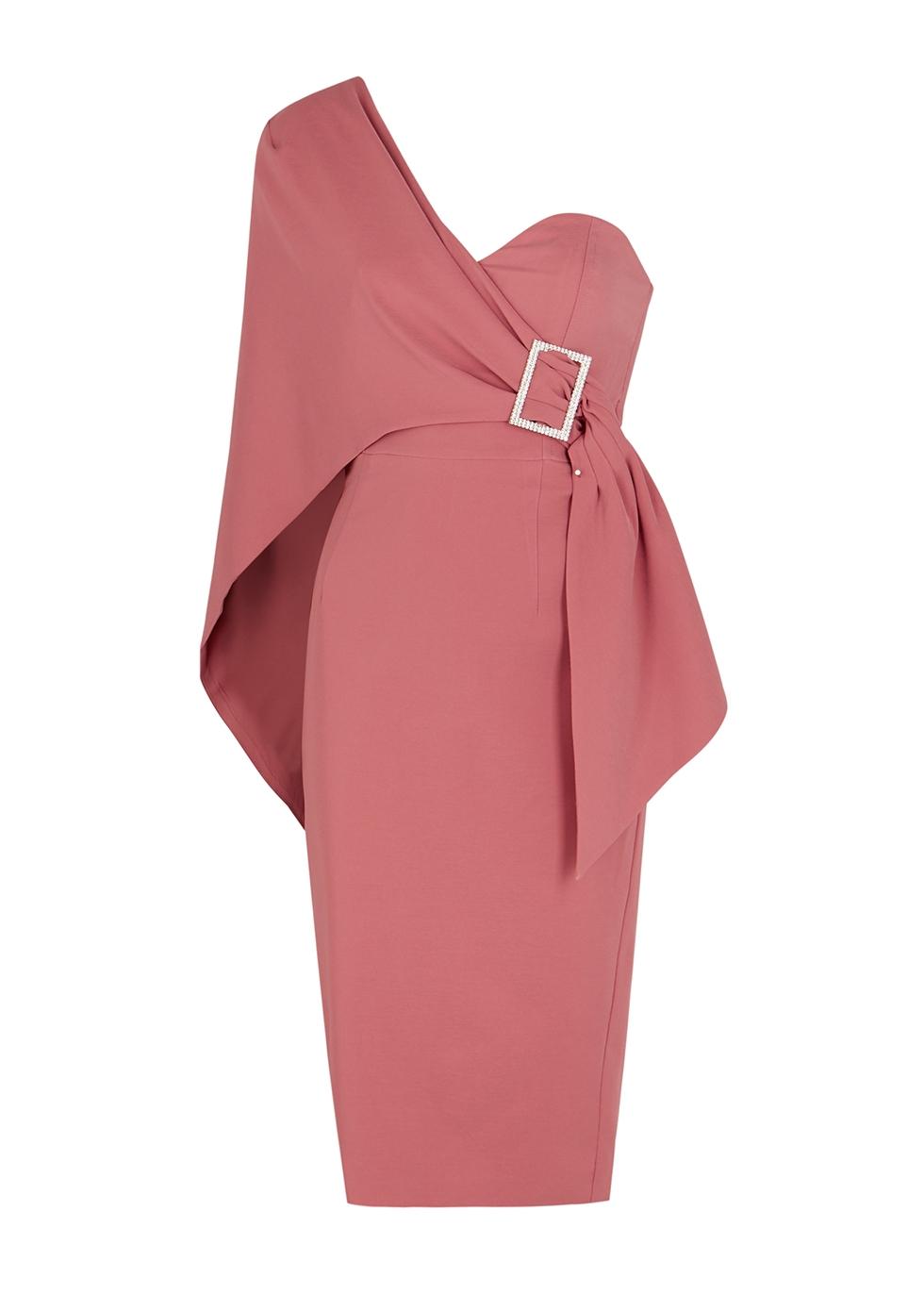 Rose one-shoulder midi dress