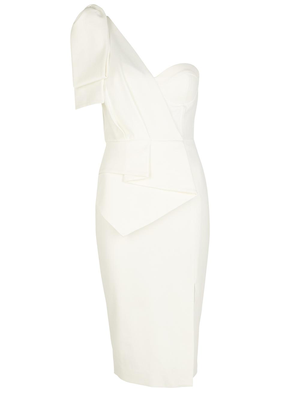 White bow-embellished midi dress