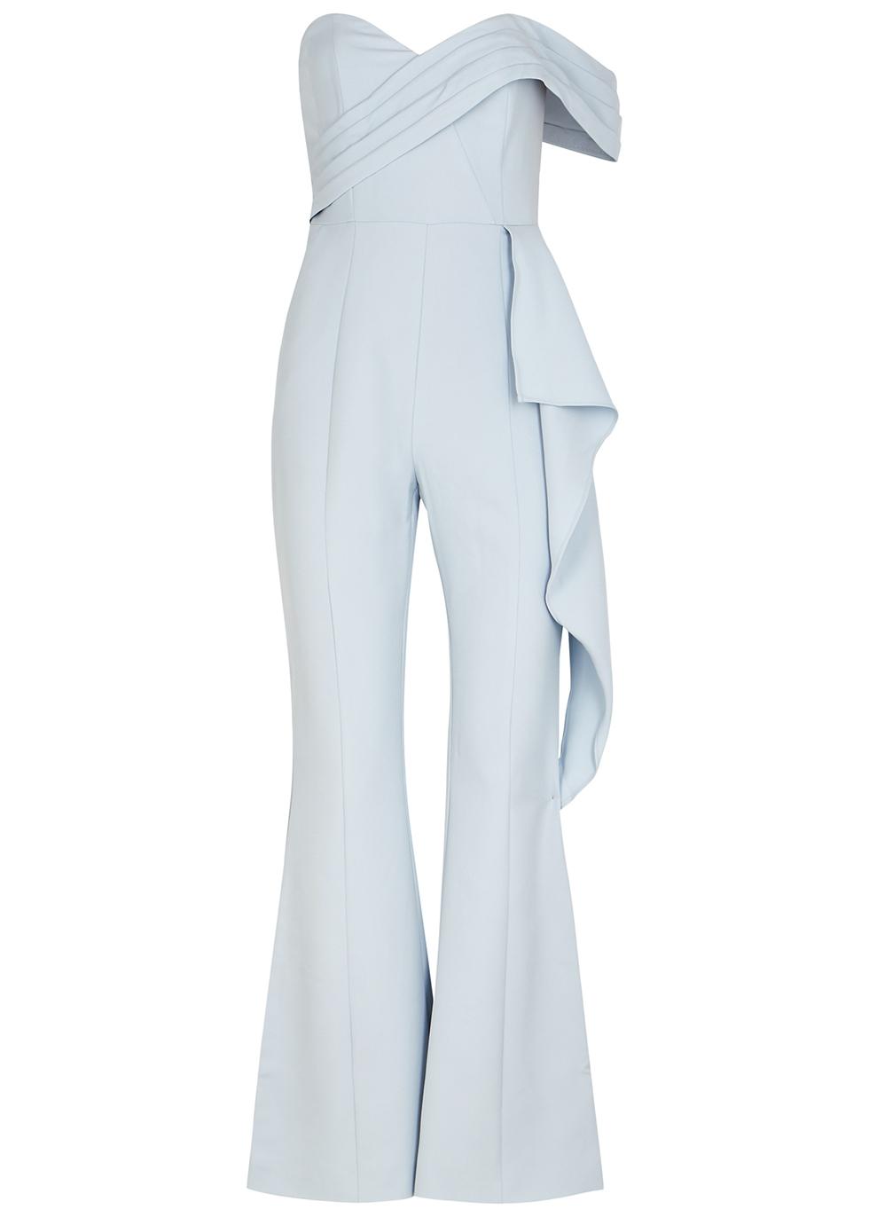 Light blue strapless flared-leg jumpsuit