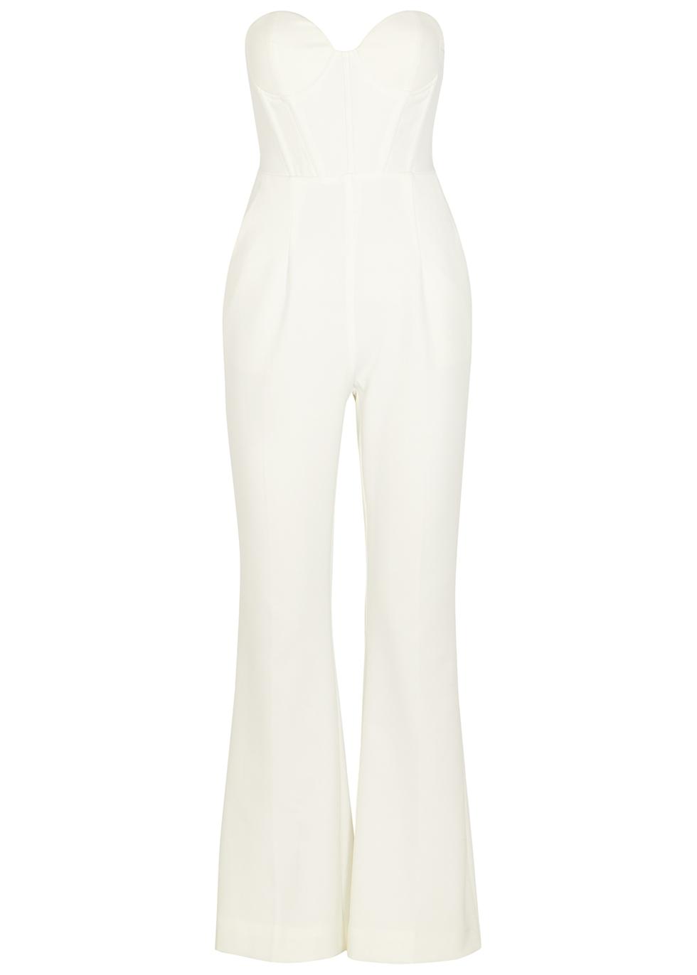 White strapless flared-leg jumpsuit