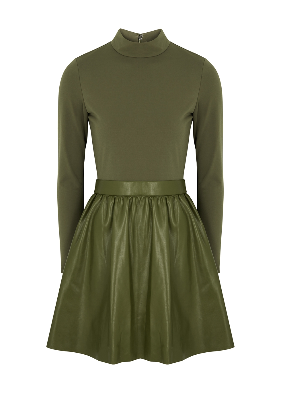 Chara olive jersey and faux leather mini dress