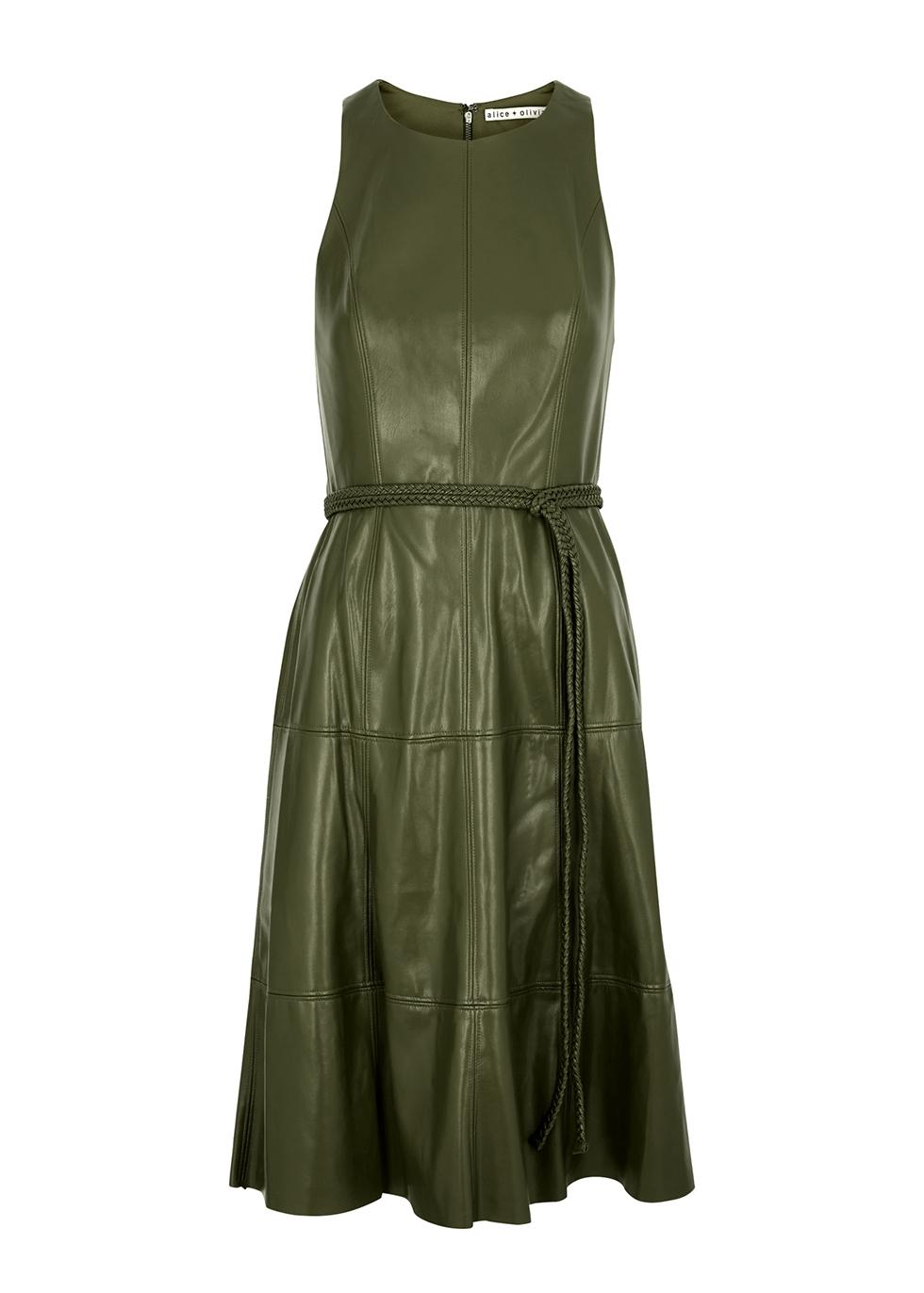 Leandra olive faux leather dress
