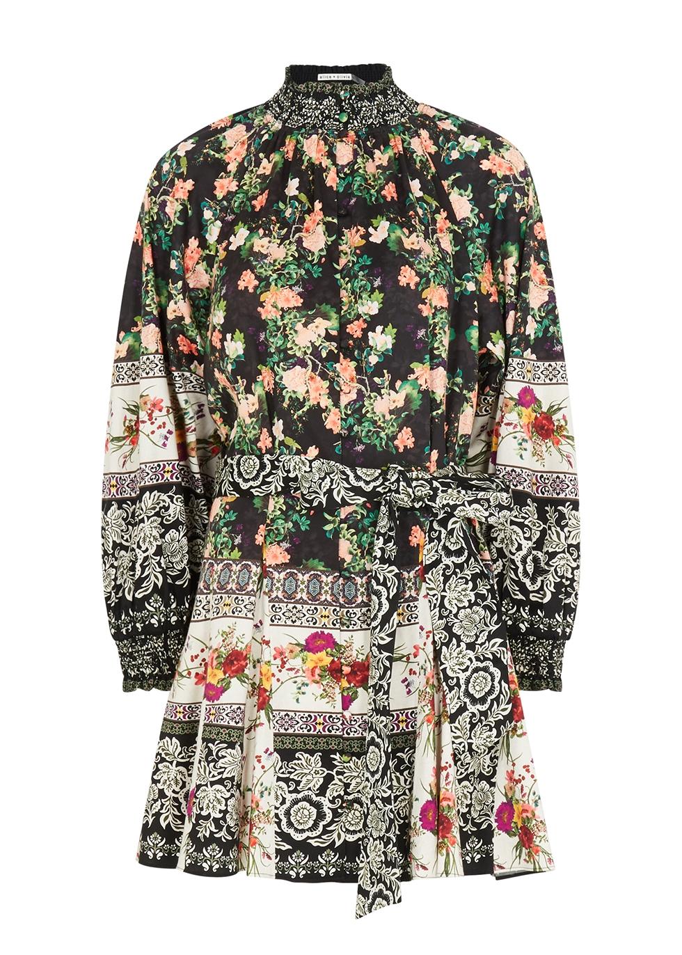Janis floral-print stretch-cotton mini dress