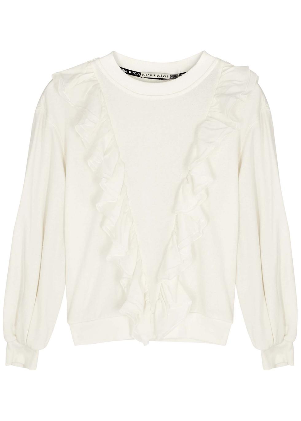 Carrie white ruffled cotton-blend sweatshirt