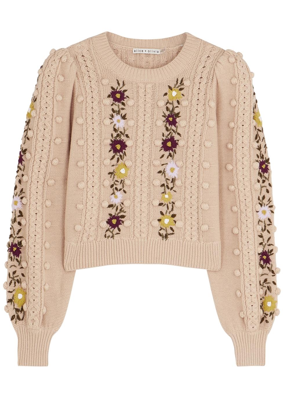 Enid floral-embroidered wool-blend jumper