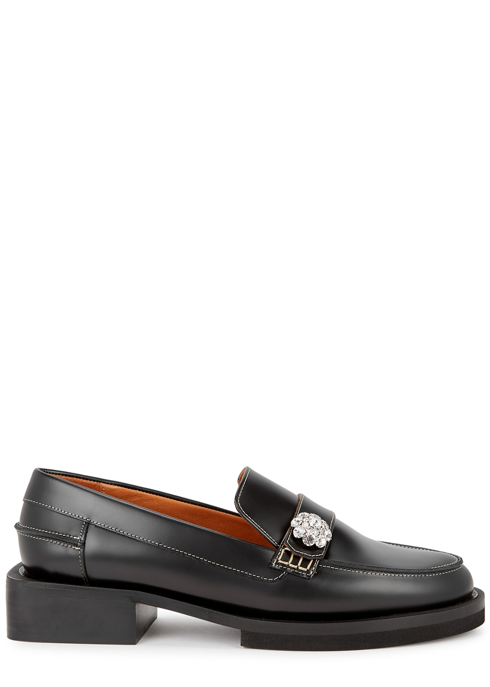 40 black leather loafers