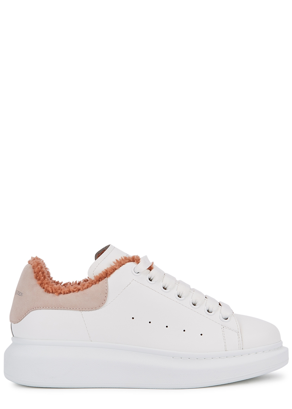 Larry white shearling-lined leather sneakers