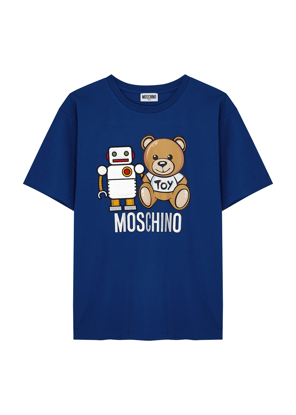 Blue printed stretch-cotton T-shirt (10-14 years)