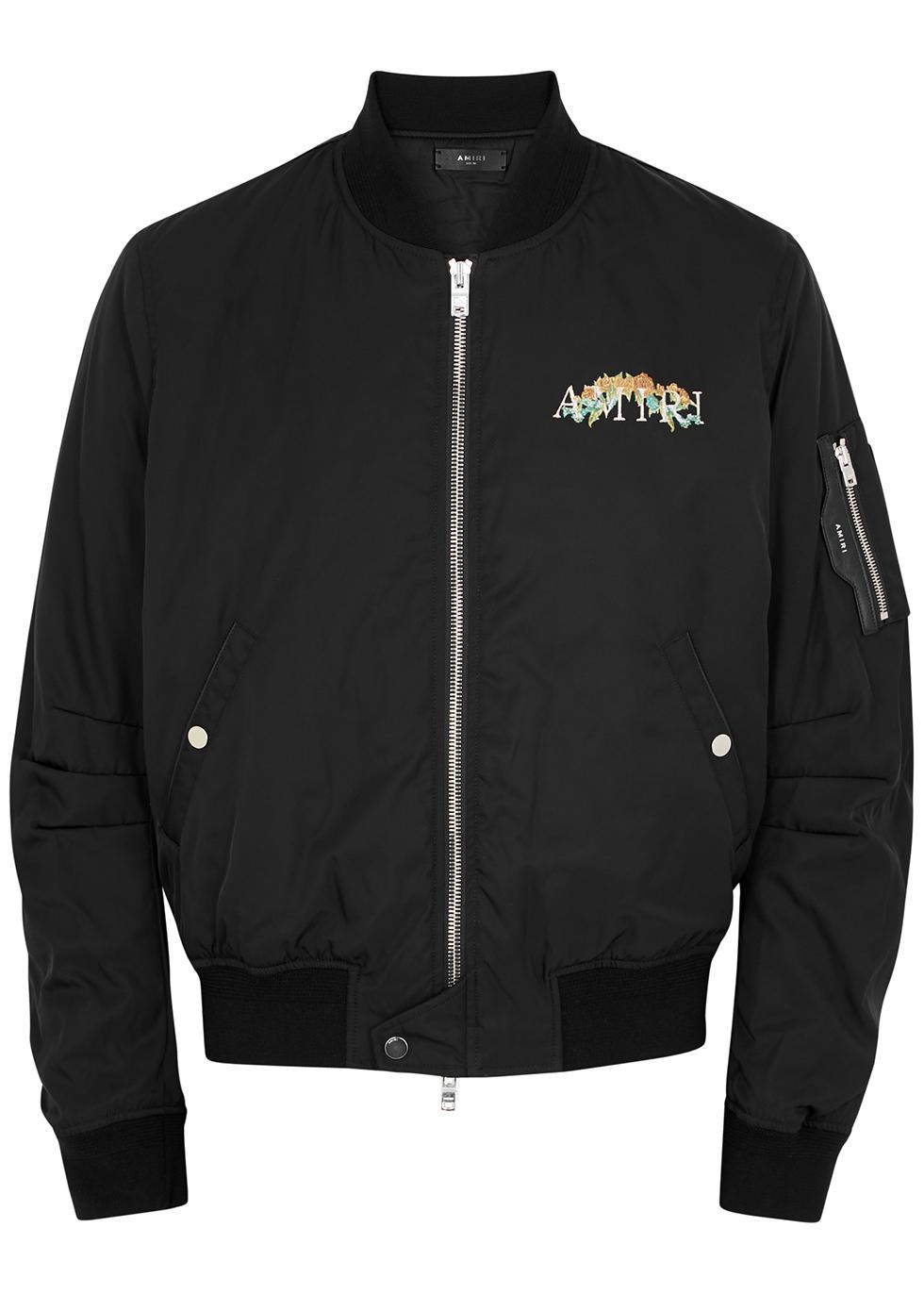 Black embroidered shell bomber jacket