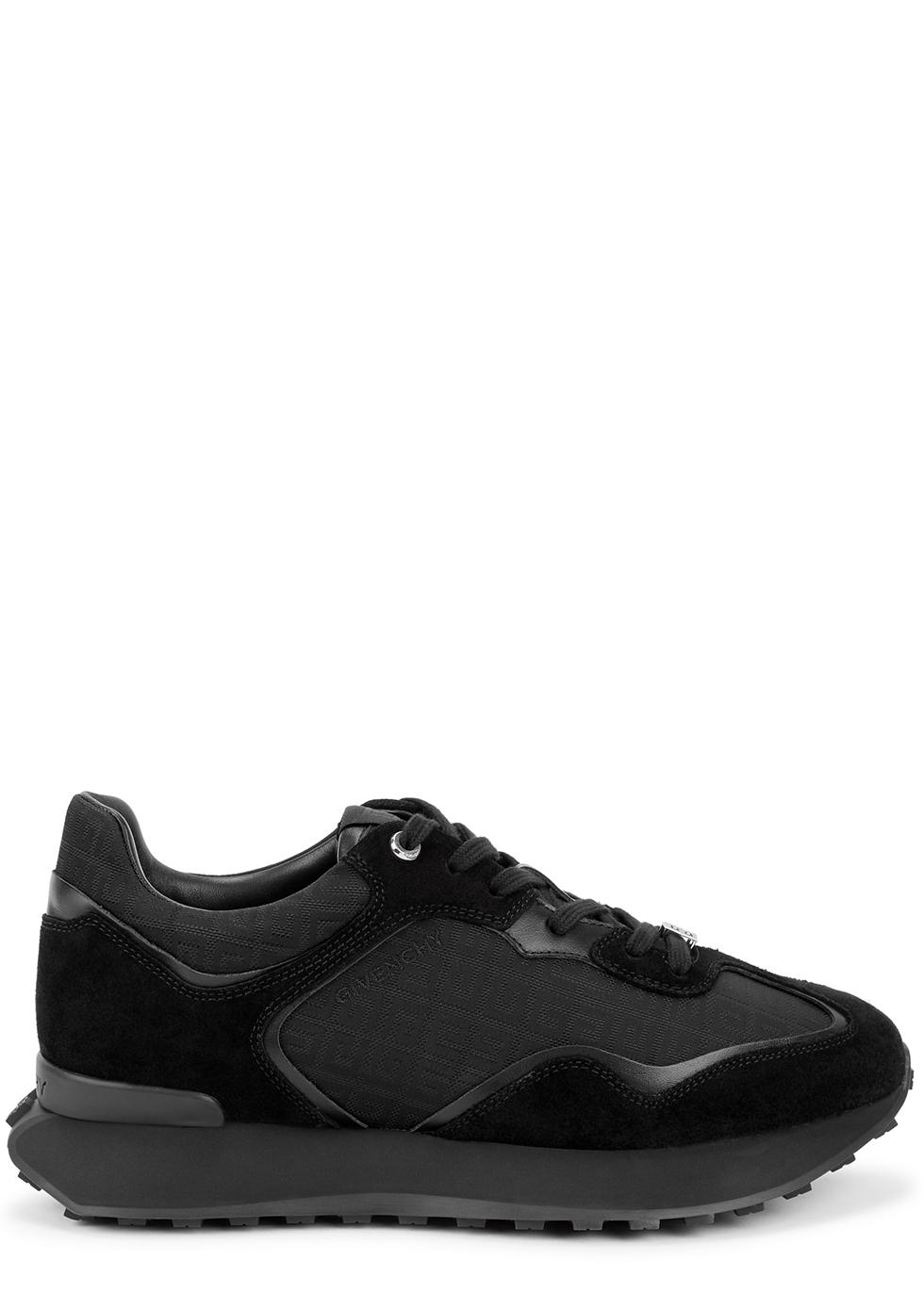 Runner black panelled suede sneakers