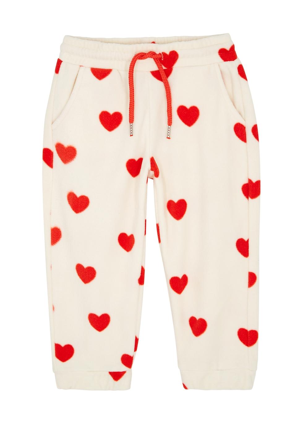 Hearts printed fleece sweatpants