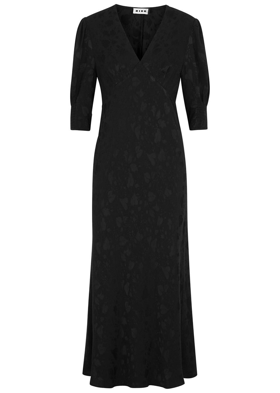 Zadie black jacquard maxi dress