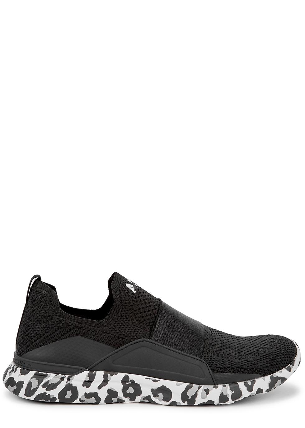 Techloom Bliss black stretch-knit sneakers