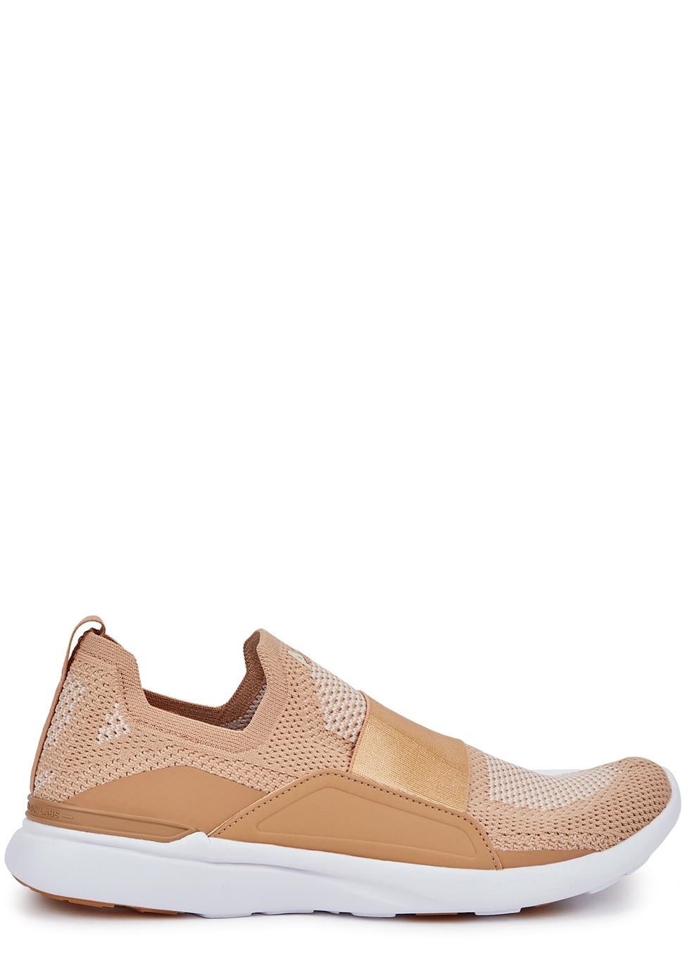 Techloom Bliss camel stretch-knit sneakers