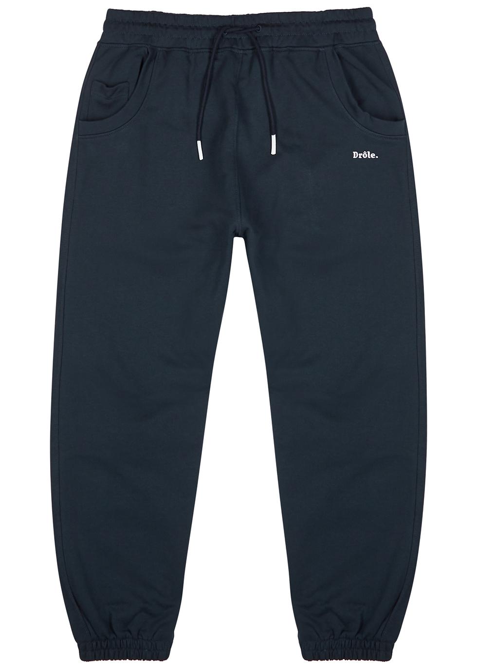 Navy logo cotton sweatpants