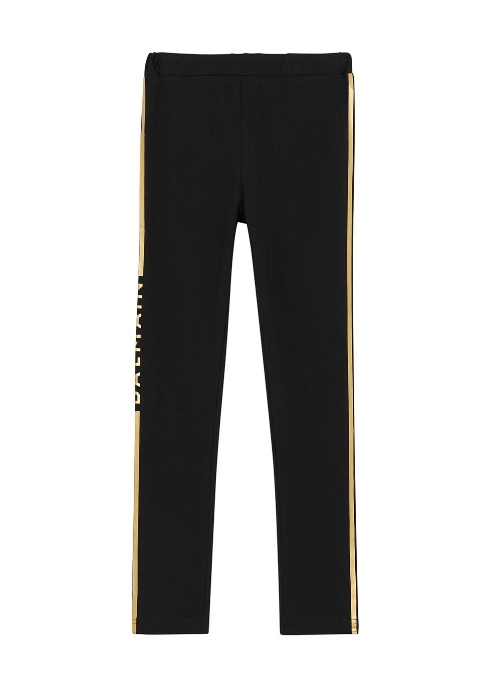 Black striped stretch-cotton leggings (4-10 years)
