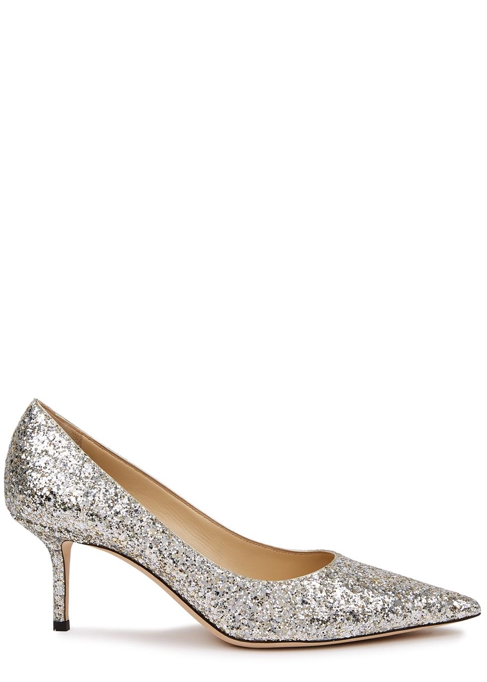 Love 85 silver glittered pumps