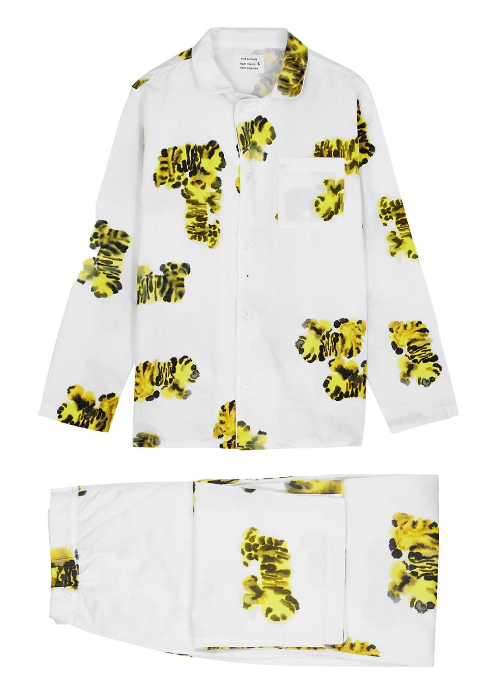 White printed cotton pyjama set