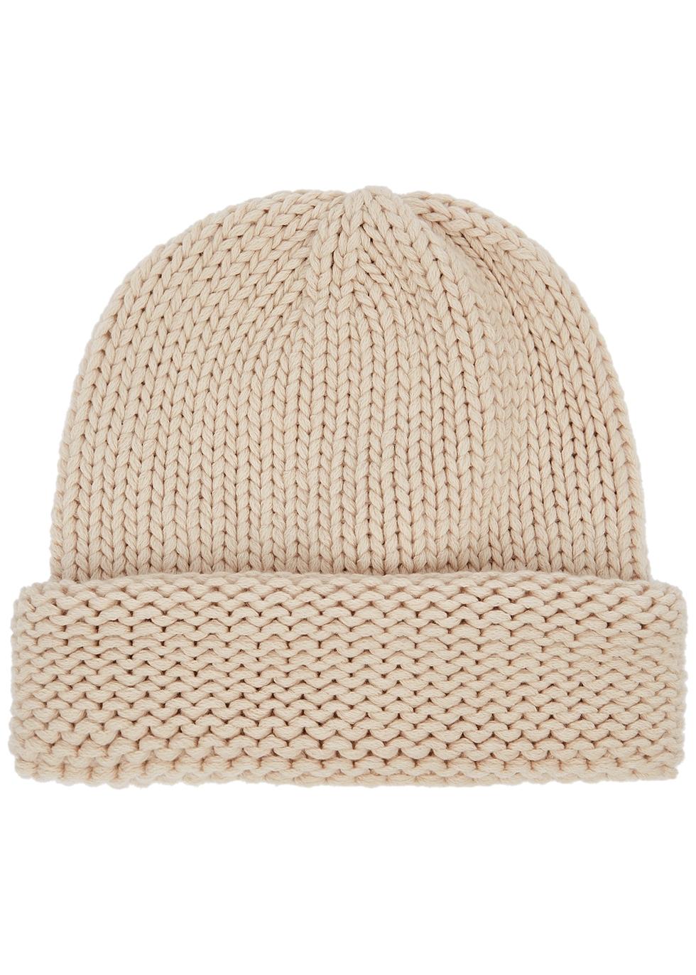 Cream knitted cashmere beanie