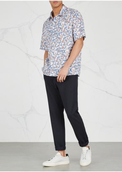 Camp-collar Printed Cotton Shirt - NeutralAlbam 2018 Acheter Des Prix Pas Cher BvXhhxDwR