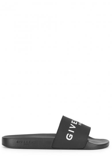 Givenchy Logo Rubber Slide Sandals - Black, White Size 8 M